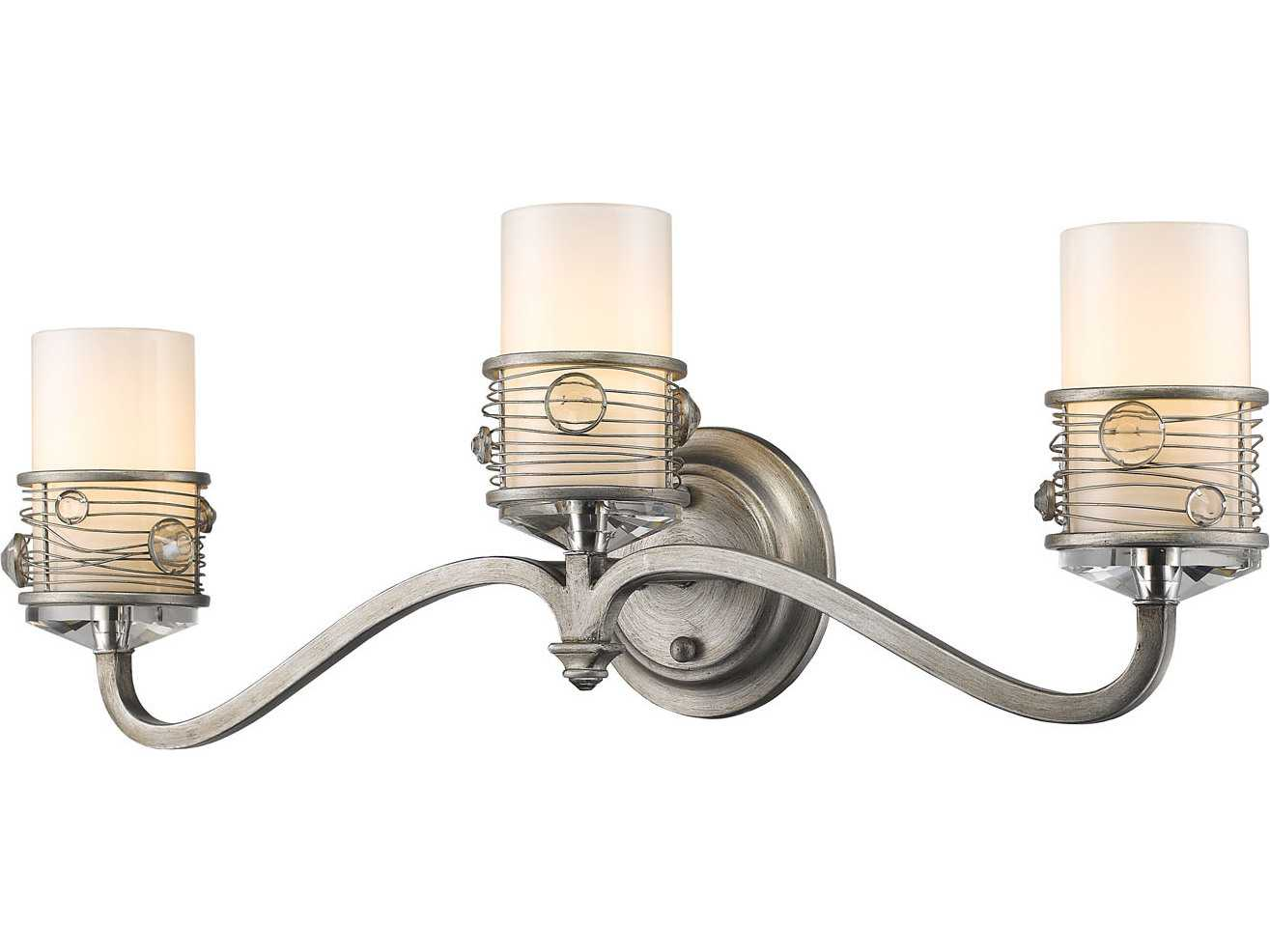 Vanity Lights With Crystal Accents : Golden Lighting Joia Peruvian Silver Three-Light Vanity Light with Frosted Clear Glass / Crystal ...