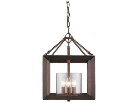 Golden Lighting Smyth Gunmetal Bronze Three-Light 11.75'' Wide Semi-Flush Mount Ceiling Light with Clear Glass