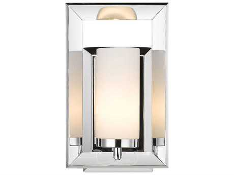 Golden Lighting Smyth Chrome Wall Sconce with Cased Opal Glass