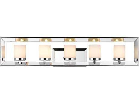 Golden Lighting Smyth Chrome Five-Light Vanity Light with Cased Opal Glass