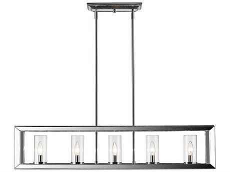 Golden Lighting Smyth Chrome Five-Light 41'' Wide Island Ceiling Light with Clear Glass Shade