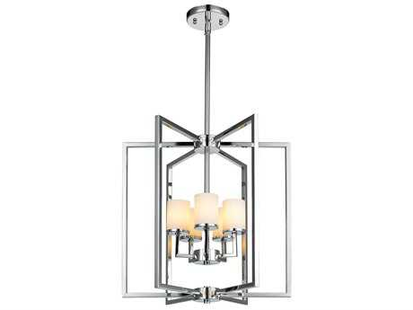 Golden Lighting Baxley Chrome Five-Light 17.5'' Wide Chandelier with Cased Opal Glass