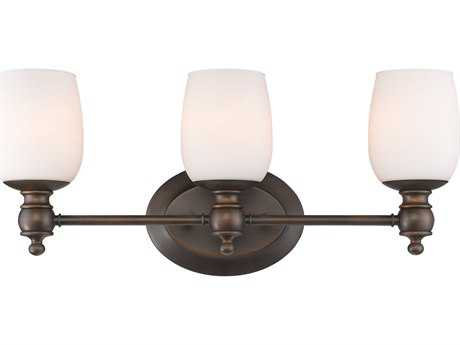 Golden Lighting Constance Rubbed Bronze Three-Light Vanity Light with Opal Glass