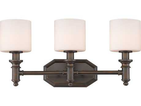 Golden Lighting Beckford Rubbed Bronze Three-Light Vanity Light with Opal Glass
