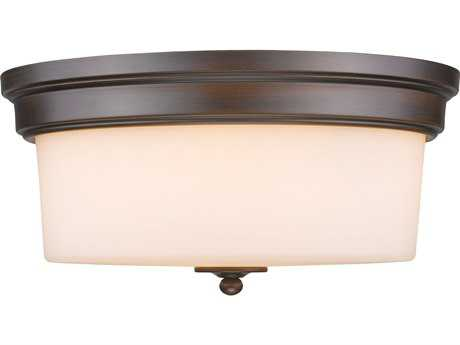 Golden Lighting Multi-Family Rubbed Bronze Three-Light 15'' Wide Flush Mount Ceiling Light with Opal Glass
