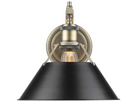 Golden Lighting Orwell Aged Brass 10'' Wide Vanity Light with Black Shade