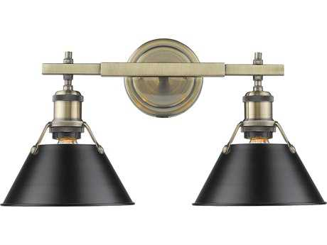 Golden Lighting Orwell Aged Brass Two-Light 18.25'' Wide Vanity Light with Black Shade