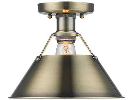 Golden Lighting Orwell Aged Brass 10'' Wide Convertible Semi-Flush Mount/Pendant Ceiling Light with Aged Brass Shade
