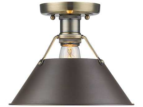 Golden Lighting Orwell Aged Brass 10'' Wide Convertible Semi-Flush Mount/Pendant Ceiling Light with Rubbed Bronze Shade