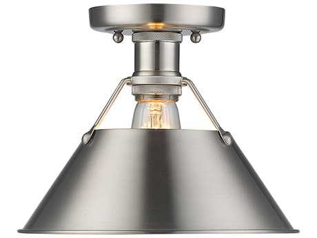 Golden Lighting Orwell Pewter 10'' Wide Convertible Semi-Flush Mount/Pendant Ceiling Light with Pewter Shade