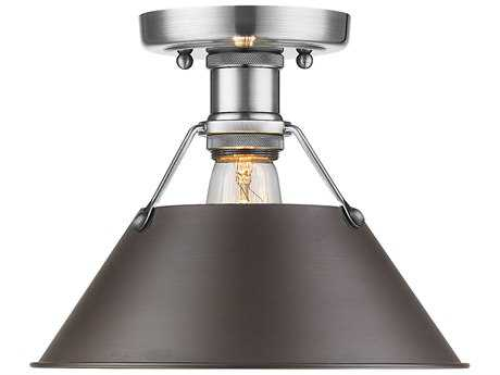 Golden Lighting Orwell Pewter 10'' Wide Convertible Semi-Flush Mount/Pendant Ceiling Light with Rubbed Bronze Shade