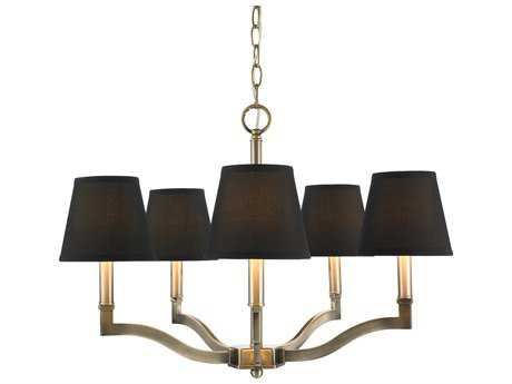 Golden Lighting Waverly Aged Brass Five-Light 25'' Wide Chandelier with Tuxedo Shade