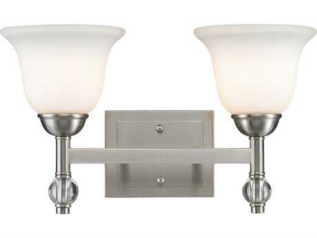 Golden Lighting Waverly Pewter Two-Light Vanity Light with Opal Glass