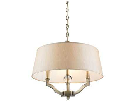 Golden Lighting Waverly Aged Brass Three-Light 19'' Wide Convertible Pendant / Semi-Flush Mount Light with Silken Parchment Shade