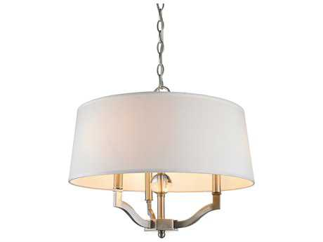 Golden Lighting Waverly Pewter Three-Light 19'' Wide Convertible Pendant / Semi-Flush Mount Light with Classic White Shade