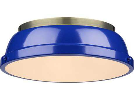 Golden Lighting Duncan Aged Brass Two-Light 14'' Wide Flush Mount Ceiling Light with Blue Shade