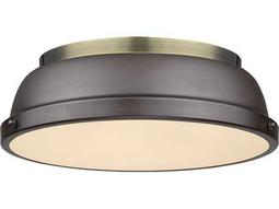 Golden Lighting Duncan Aged Brass Two-Light 14'' Wide Flush Mount Ceiling Light with Rubbed Bronze Shade