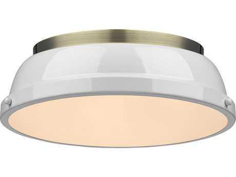 Golden Lighting Duncan Aged Brass Two-Light 14'' Wide Flush Mount Ceiling Light with White Shade