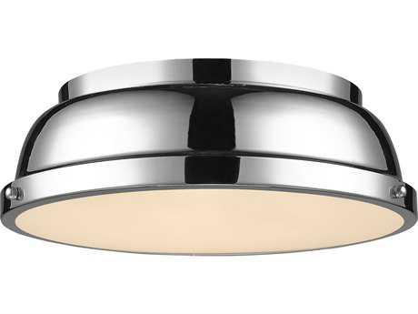 Golden Lighting Duncan Chrome 14'' Wide Flush Mount Ceiling Light with Chrome Shade