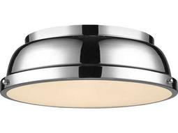 Golden Lighting Duncan Chrome 14'' Wide Flush Mount Ceiling Light with Chrome Shade