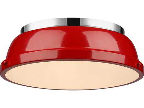 Golden Lighting Duncan Chrome 14'' Wide Flush Mount Ceiling Light with Red Shade