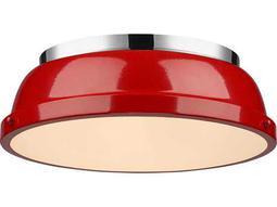 Golden Lighting Duncan Chrome 14'' Wide Flush Mount Ceiling Light with Red Shade