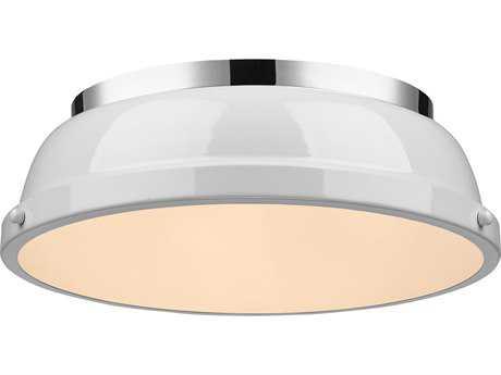 Golden Lighting Duncan Chrome 14'' Wide Flush Mount Ceiling Light with White Shade
