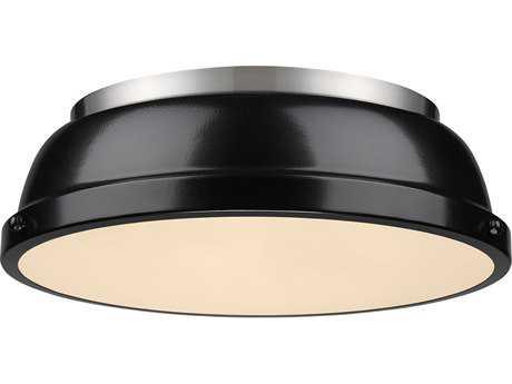 Golden Lighting Duncan Pewter 14'' Wide Flush Mount Ceiling Light with Black Shade