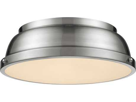 Golden Lighting Duncan Pewter 14'' Wide Flush Mount Ceiling Light with Pewter Shade