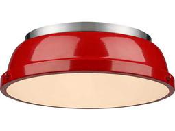 Golden Lighting Duncan Pewter 14'' Wide Flush Mount Ceiling Light with Red Shade