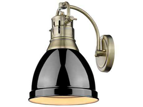 Golden Lighting Duncan Aged Brass 8.88'' Wide Vanity Light with Black Shade