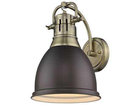 Golden Lighting Duncan Aged Brass 8.88'' Wide Vanity Light with Rubbed Bronze Shade
