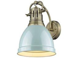 Golden Lighting Duncan Aged Brass 8.88'' Wide Vanity Light with Seafoam Shade