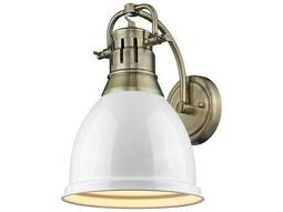 Golden Lighting Duncan Aged Brass 8.88'' Wide Vanity Light with White Shade