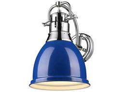 Golden Lighting Duncan Chrome Wall Sconce with Blue Shade