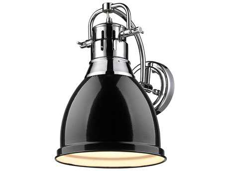 Golden Lighting Duncan Chrome Wall Sconce with Black Shade