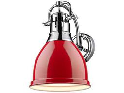 Golden Lighting Duncan Chrome Wall Sconce with Red Shade