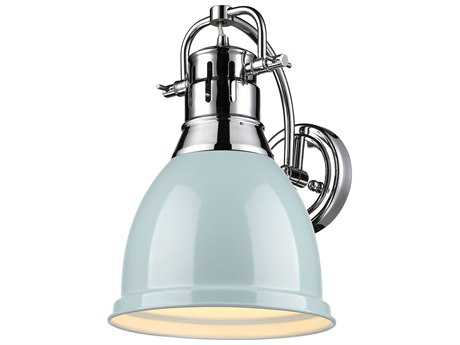 Golden Lighting Duncan Chrome Wall Sconce with Seafoam