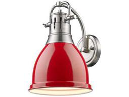 Golden Lighting Duncan Pewter Wall Sconce with Red Shade