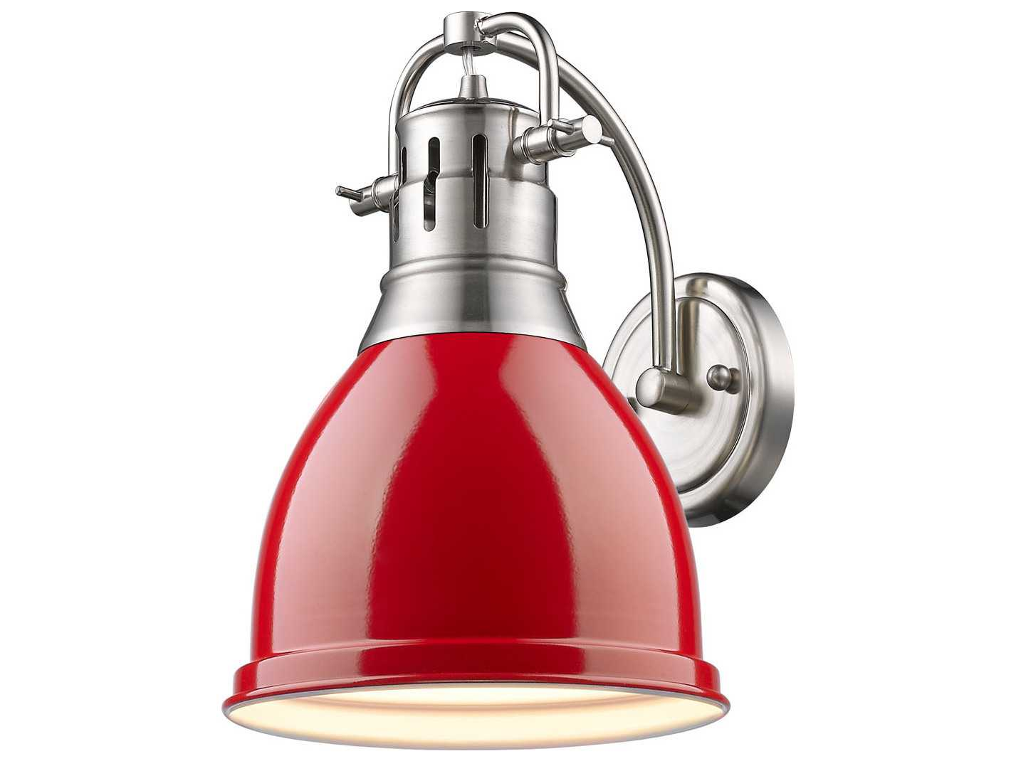 Golden Lighting Duncan Pewter Wall Sconce with Red Shade GO36021WPWRD