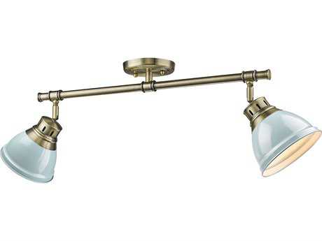 Golden Lighting Duncan Aged Brass Two-Light 26.25'' Wide Track Light with Seafoam Shades