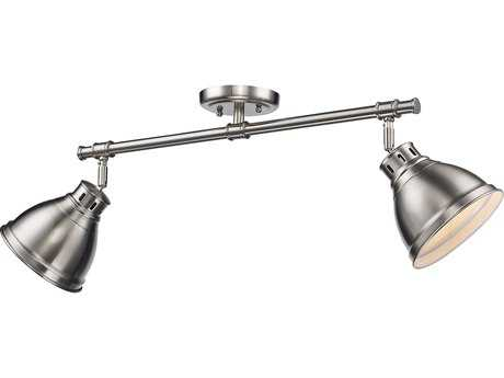 Golden Lighting Duncan Pewter Two-Light 26.25'' Wide Rail Light with Pewter Shade