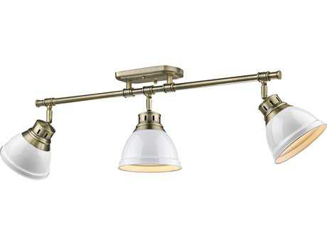 Golden Lighting Duncan Aged Brass Three-Light 35.38'' Wide Track Light with White Shades