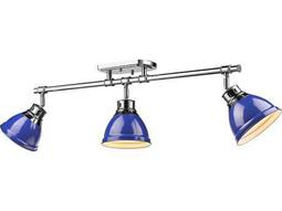 Golden Lighting Duncan Chrome Three-Light 35.38'' Wide Rail Light with Blue Shade
