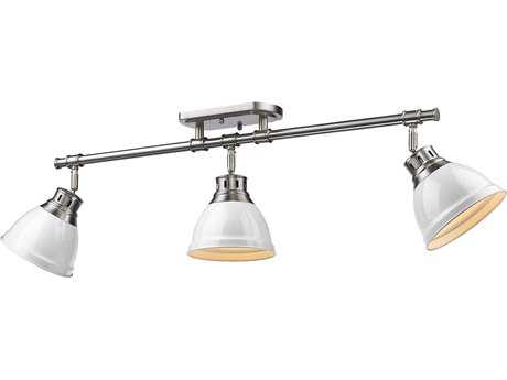 Golden Lighting Duncan Pewter Three-Light 35.38'' Wide Rail Light with White Shade