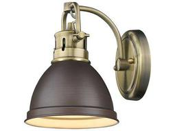 Golden Lighting Duncan Aged Brass 6.5'' Wide Vanity Light with Rubbed Bronze Shade