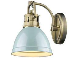 Golden Lighting Duncan Aged Brass 6.5'' Wide Vanity Light with Seafoam Shade