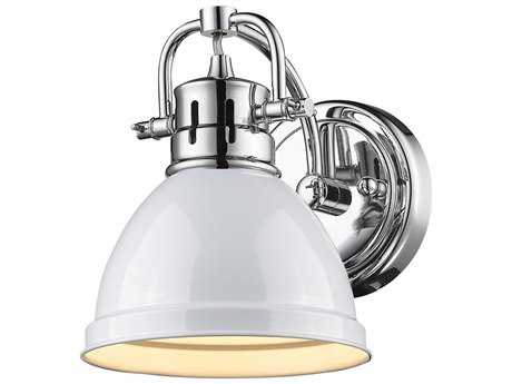 Golden Lighting Duncan Chrome Wall Sconce with White Shade