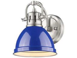 Golden Lighting Duncan Pewter Wall Sconce with Blue Shade