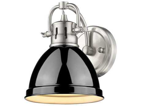 Golden Lighting Duncan Pewter Wall Sconce with Black Shade